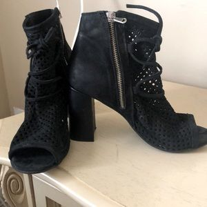 Caged Suede Peep Toe Booties